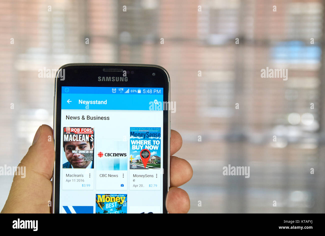 MONTREAL, CANADA - APRIL 5, 2016 : Google Play Newsstand on