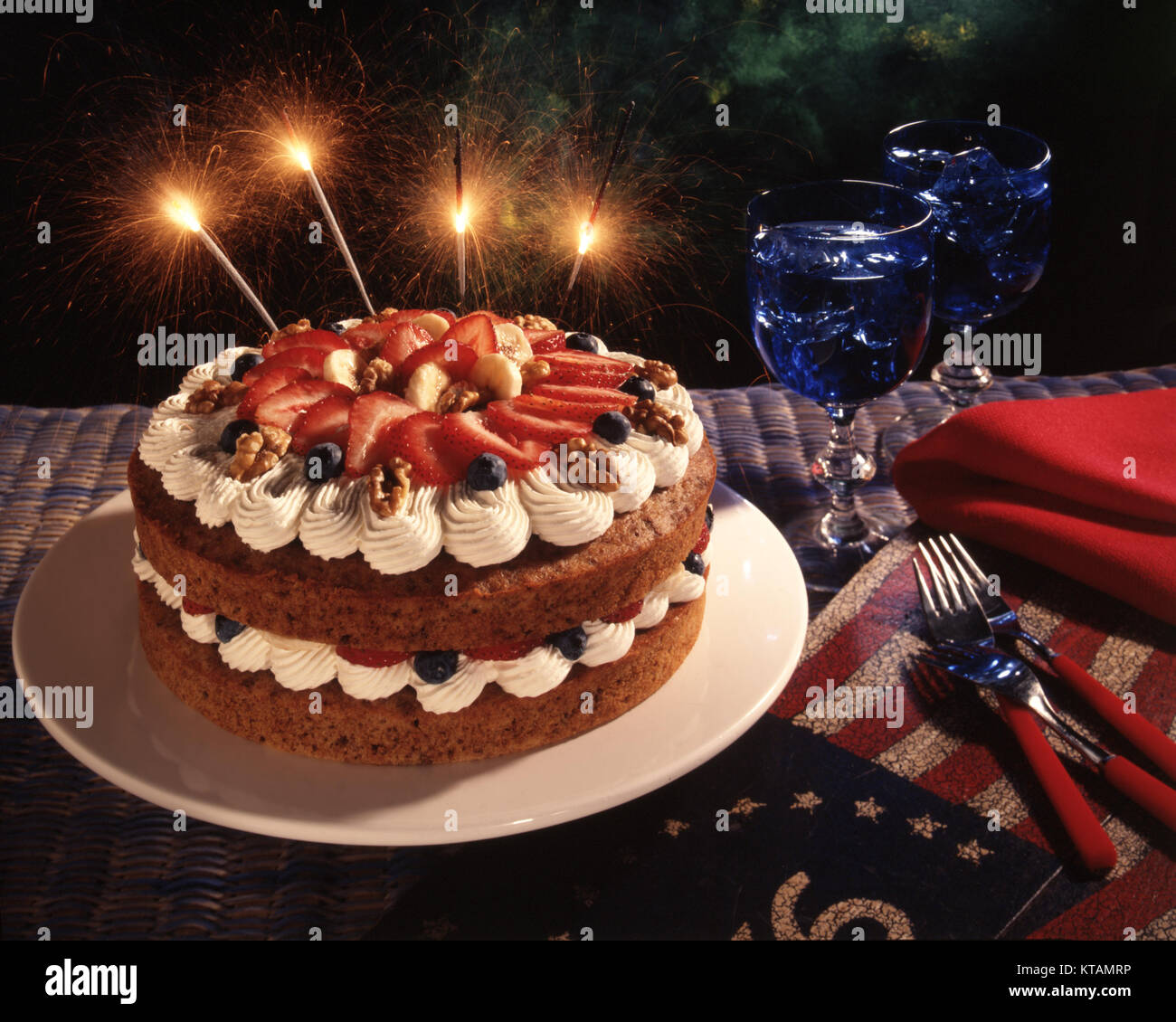 4th of July cake - Stock Image