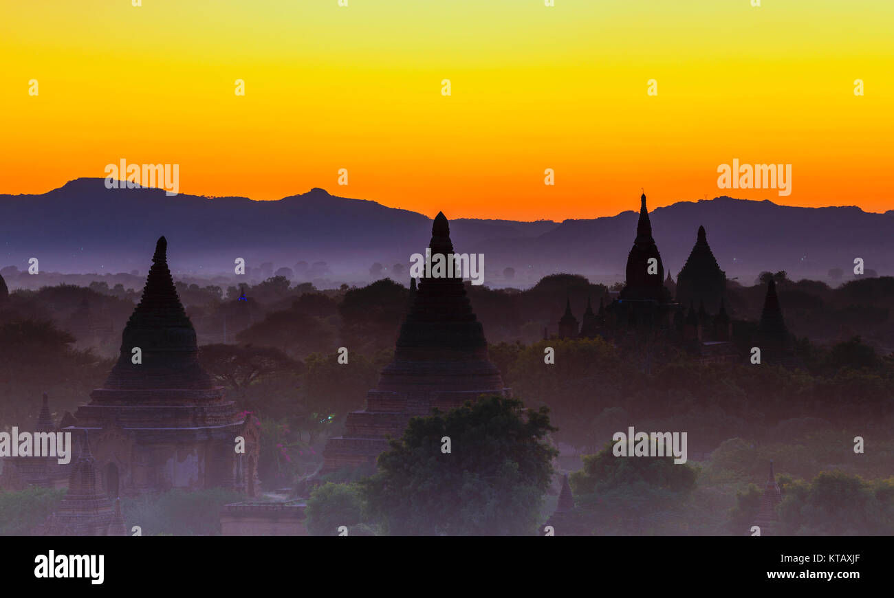 Bagan temple during golden hour - Stock Image