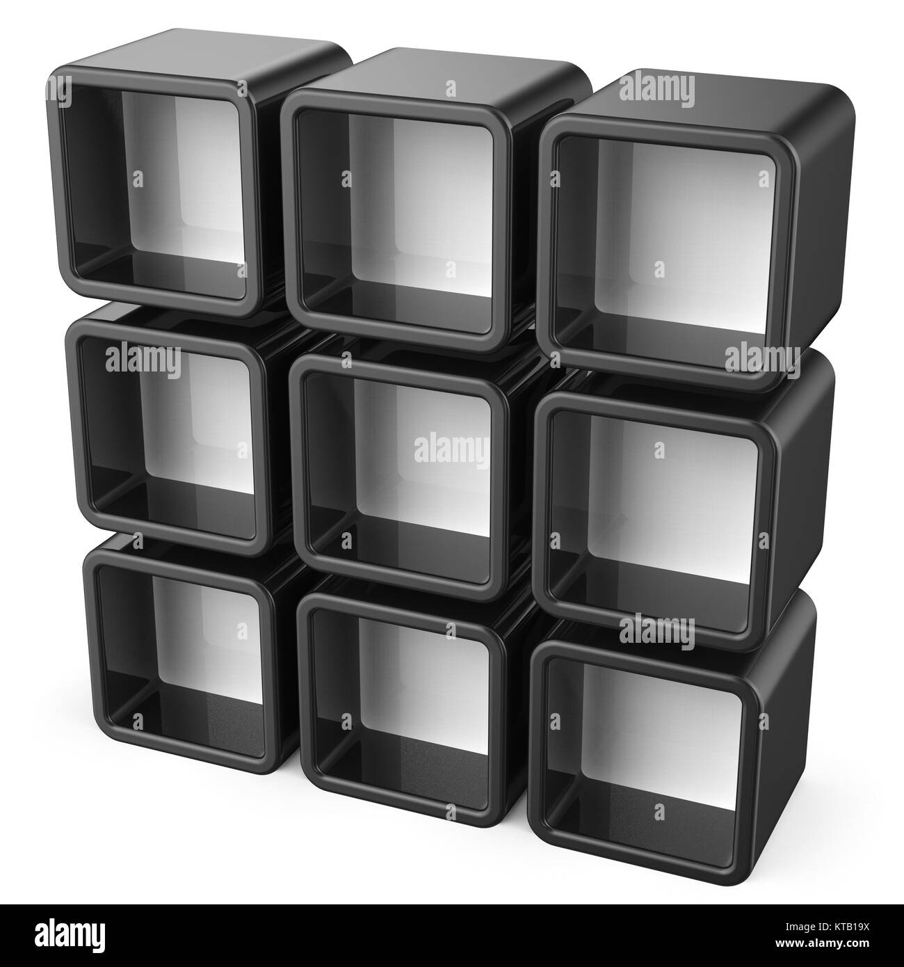 Copy space black and white shelf set 3D - Stock Image