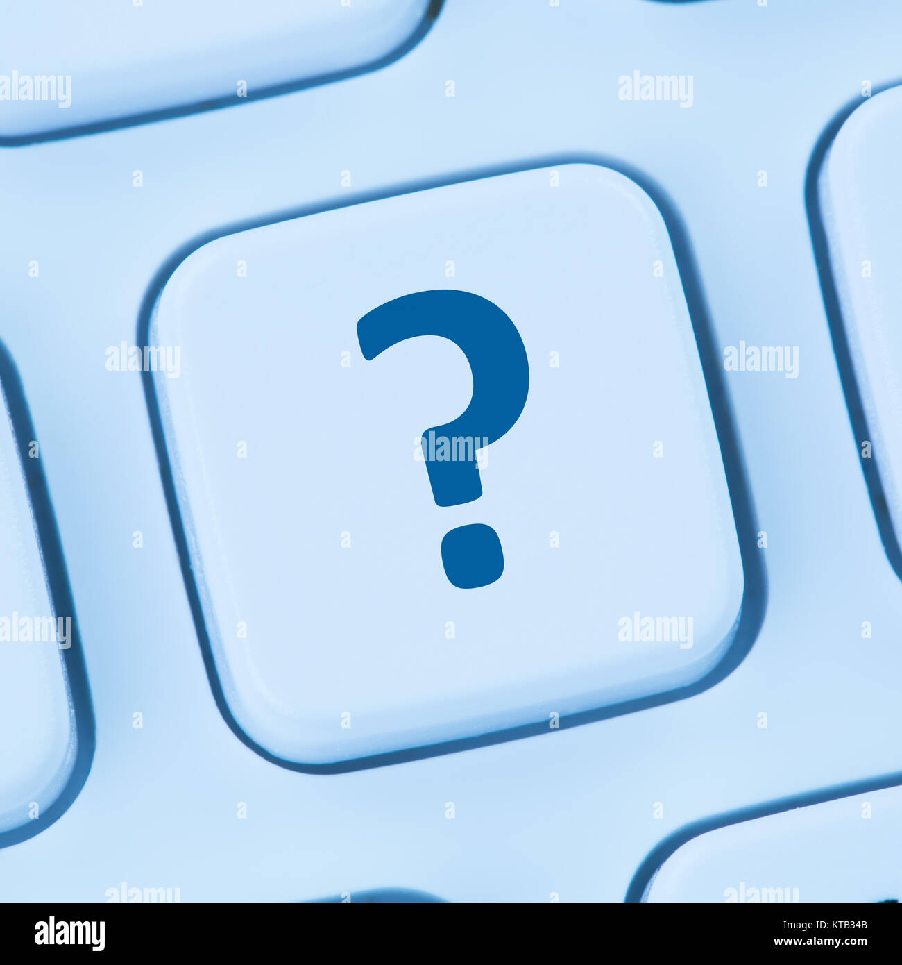 computer keyboard question mark help icon blue web - Stock Image