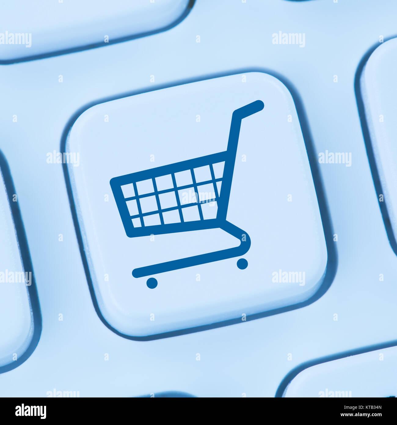 Online Shopping E-Commerce einkaufen Einkauf Internet blau Computer web Tastatur - Stock Image