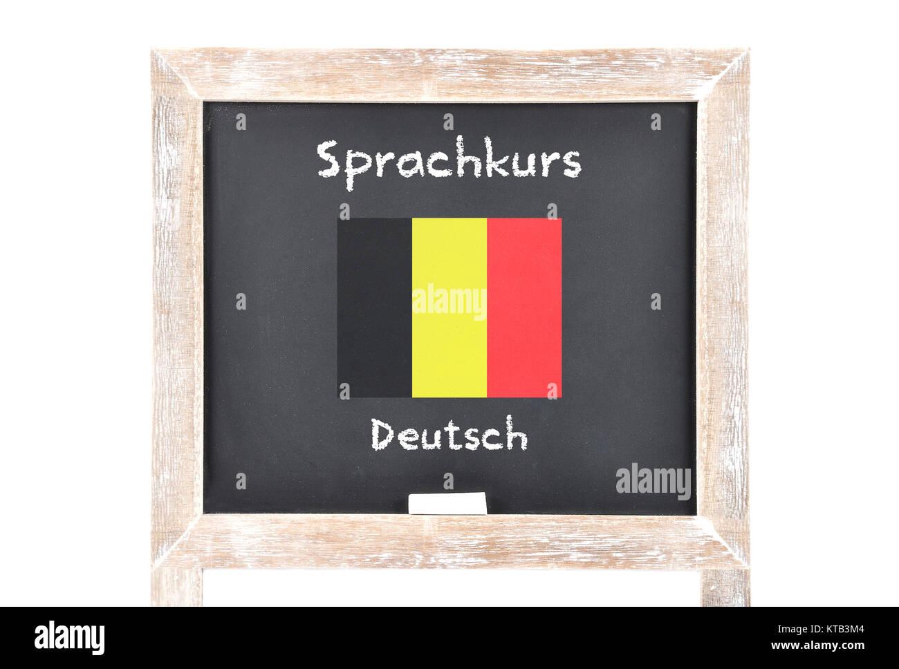 Sprachkurs mit Flagge auf Tafel Stock Photo
