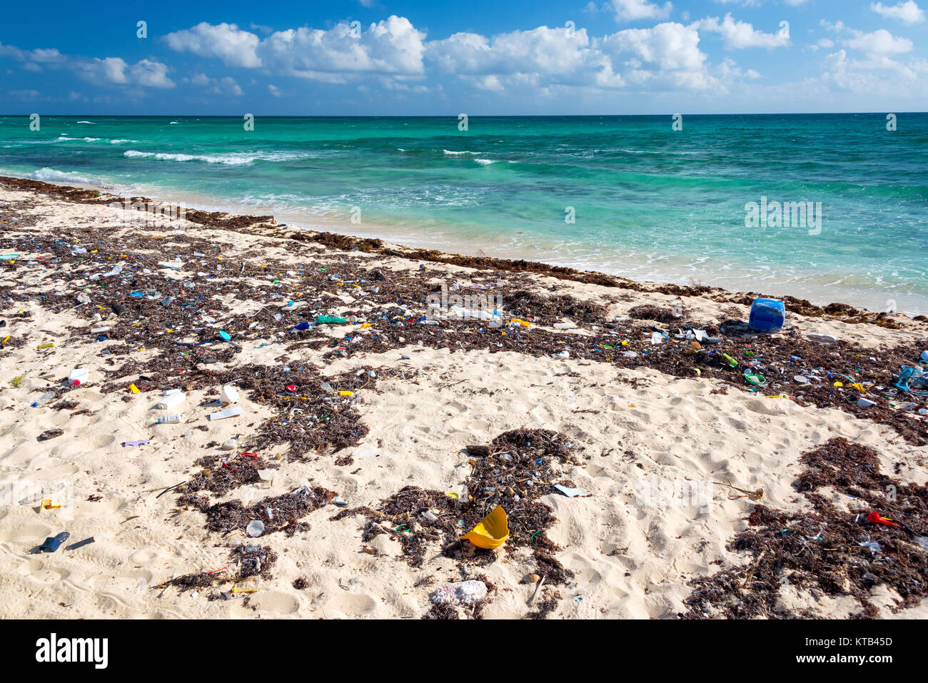 Dirty Polluted Beach - Stock Image
