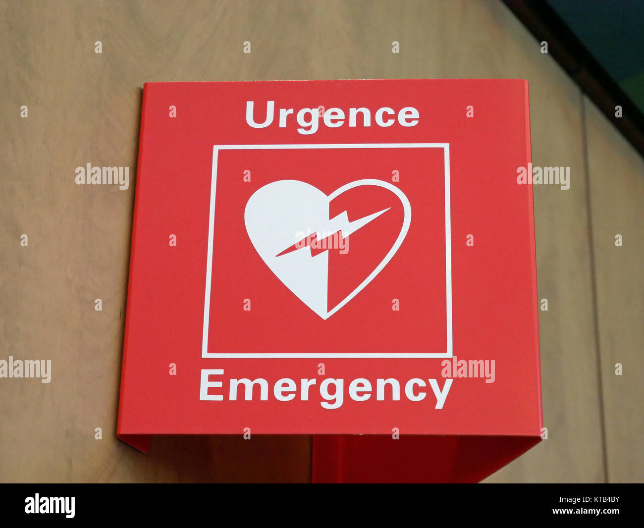 Emergency sign in an airport - Stock Image