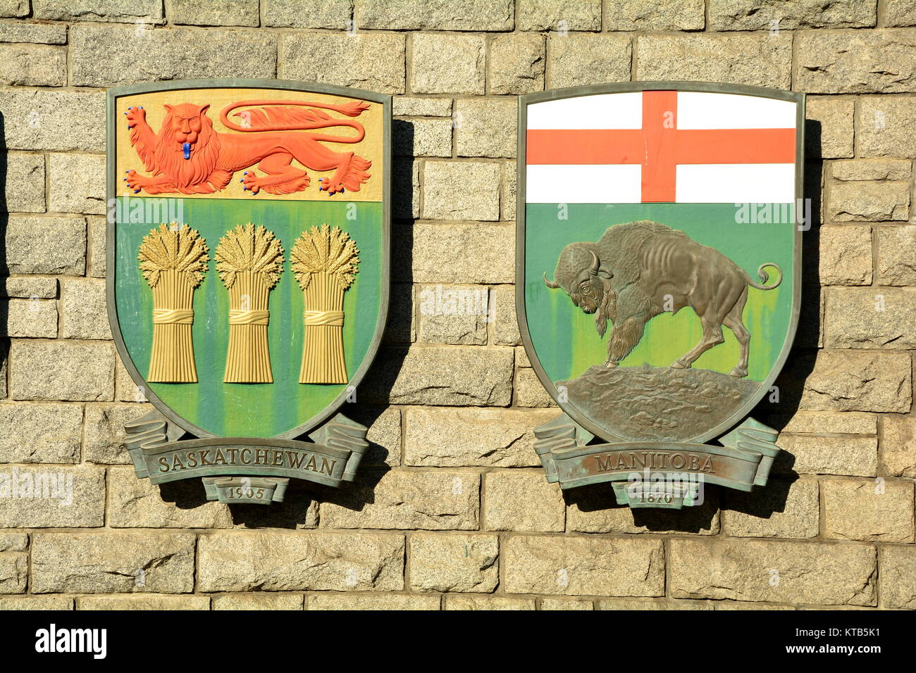 Coats of arms for the Canadian provinces of Saskatchewan and Manitoba. - Stock Image