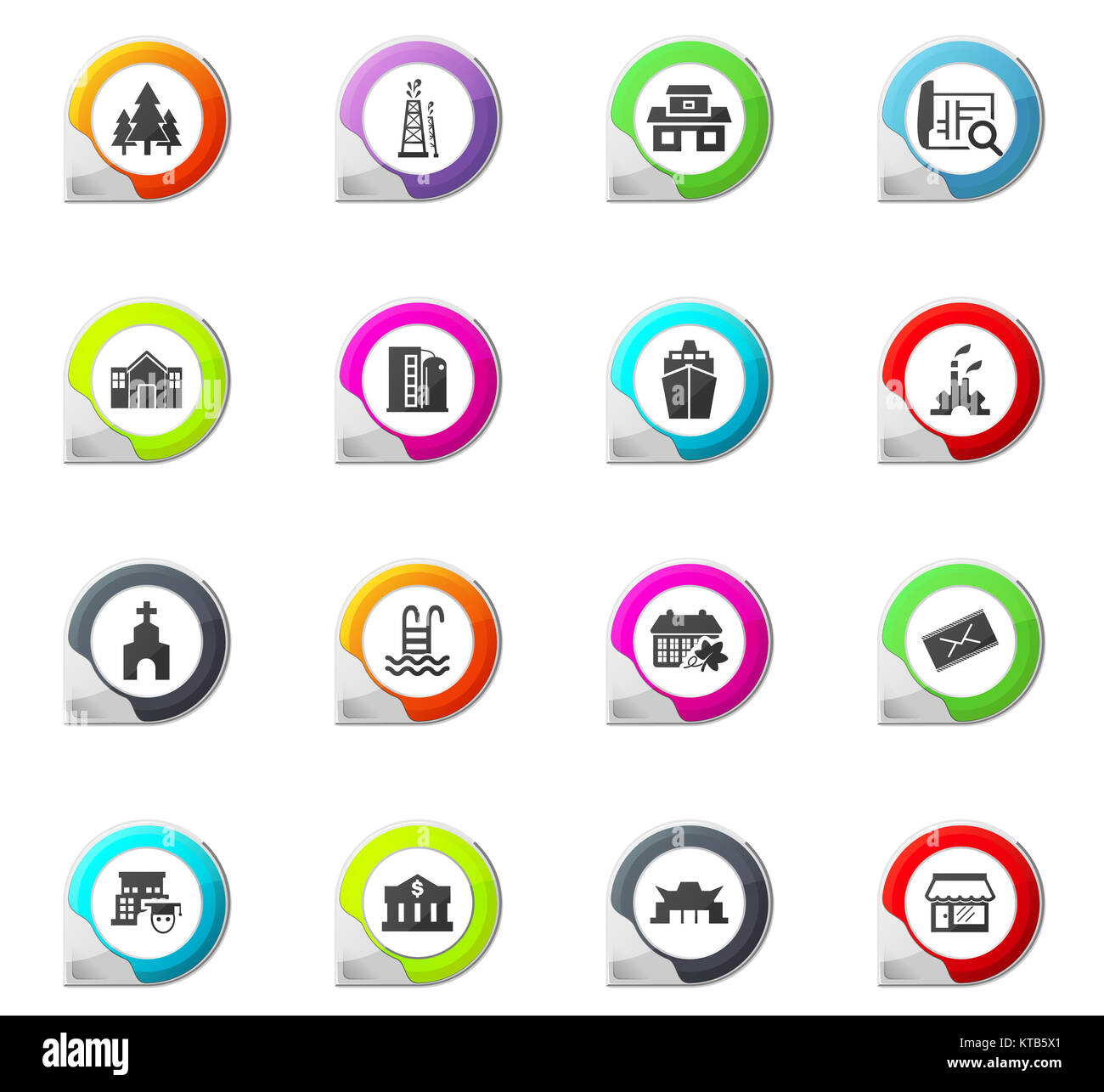 Infrastucture of the city icons set - Stock Image