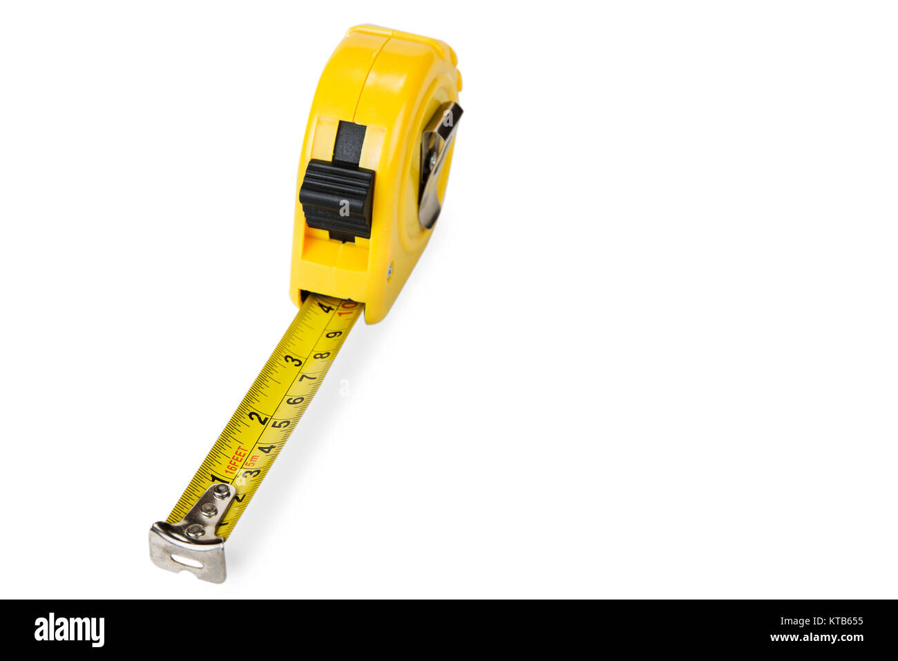 Yellow rolling meter on the white background - Stock Image