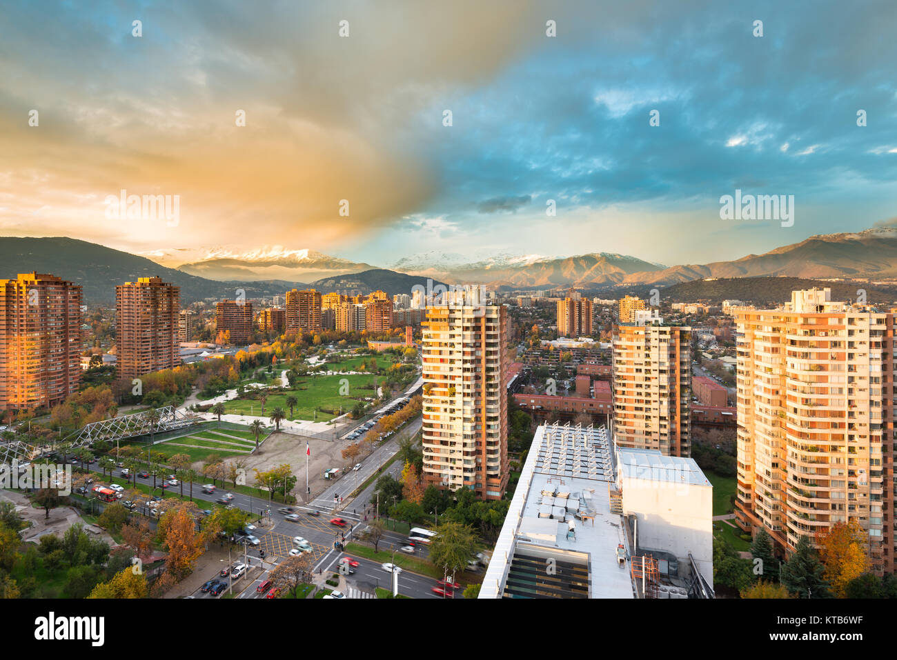 Skyline of buildings around Juan Pablo II park at a wealthy neighborhood in Las Condes district, Santiago de Chile - Stock Image