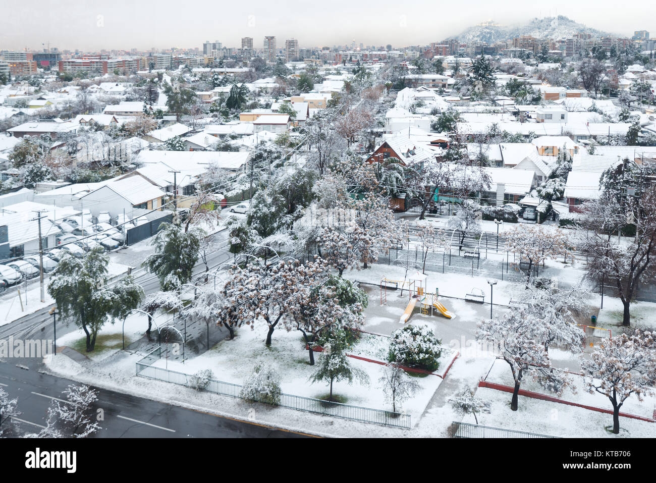 Santiago, Region Metropolitana, Chile - July 15, 2017: The city was completely covered by snow, an unusual phenomenon - Stock Image