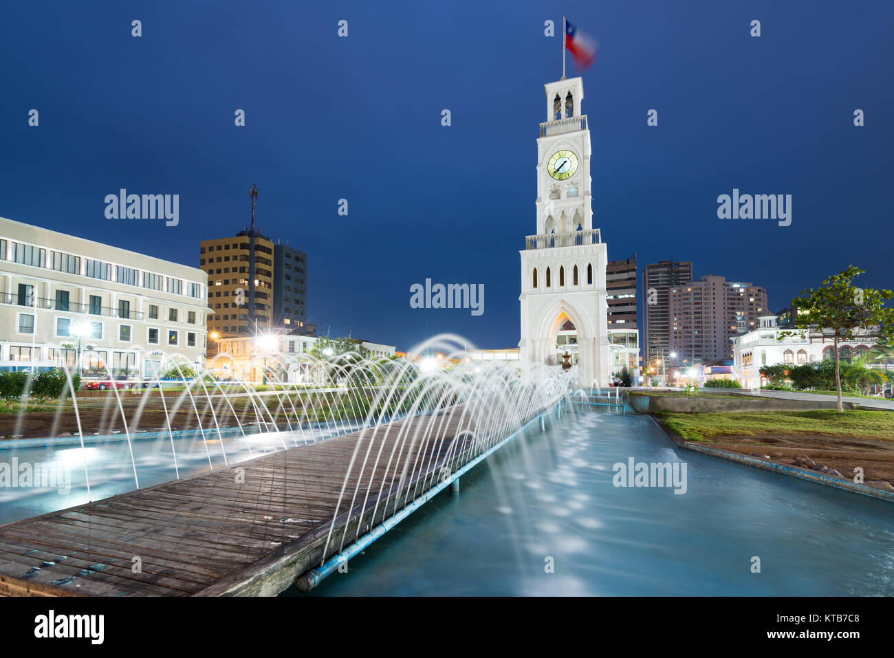 Iquique, Tarapaca Region, Chile - The clock tower of Iquique, a traditional building built in 1878 at downtown in - Stock Image