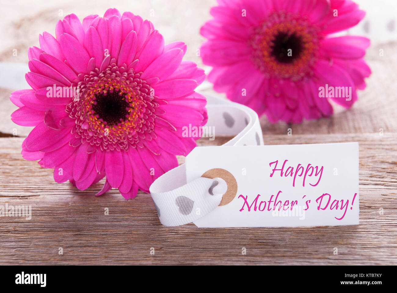 Label With English Text Happy Mothers Day Pink Spring Gerbera Stock
