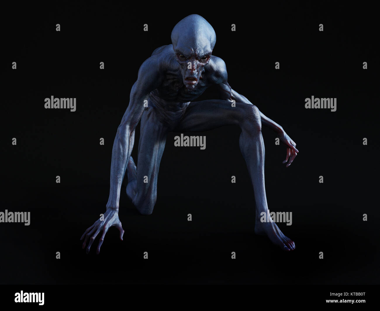 3D rendering of an alien creature crouching. - Stock Image