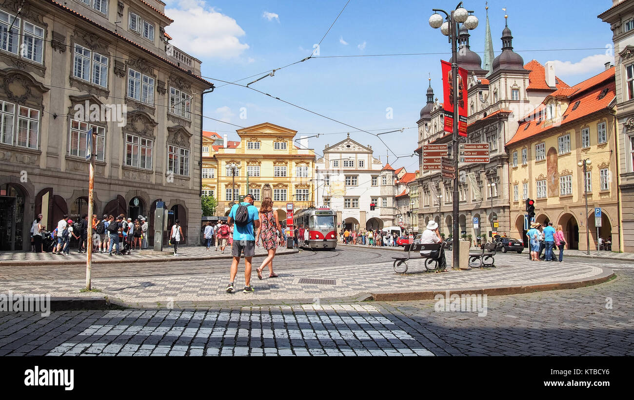Streets of Prague (Czech Republic) in a summer sunny day - Stock Image