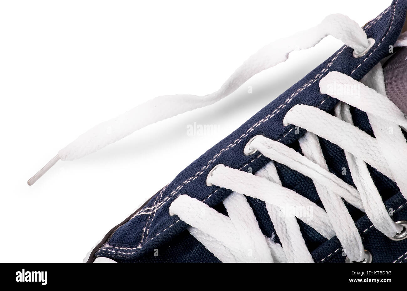 Closeup lacing on athletic shoes - Stock Image