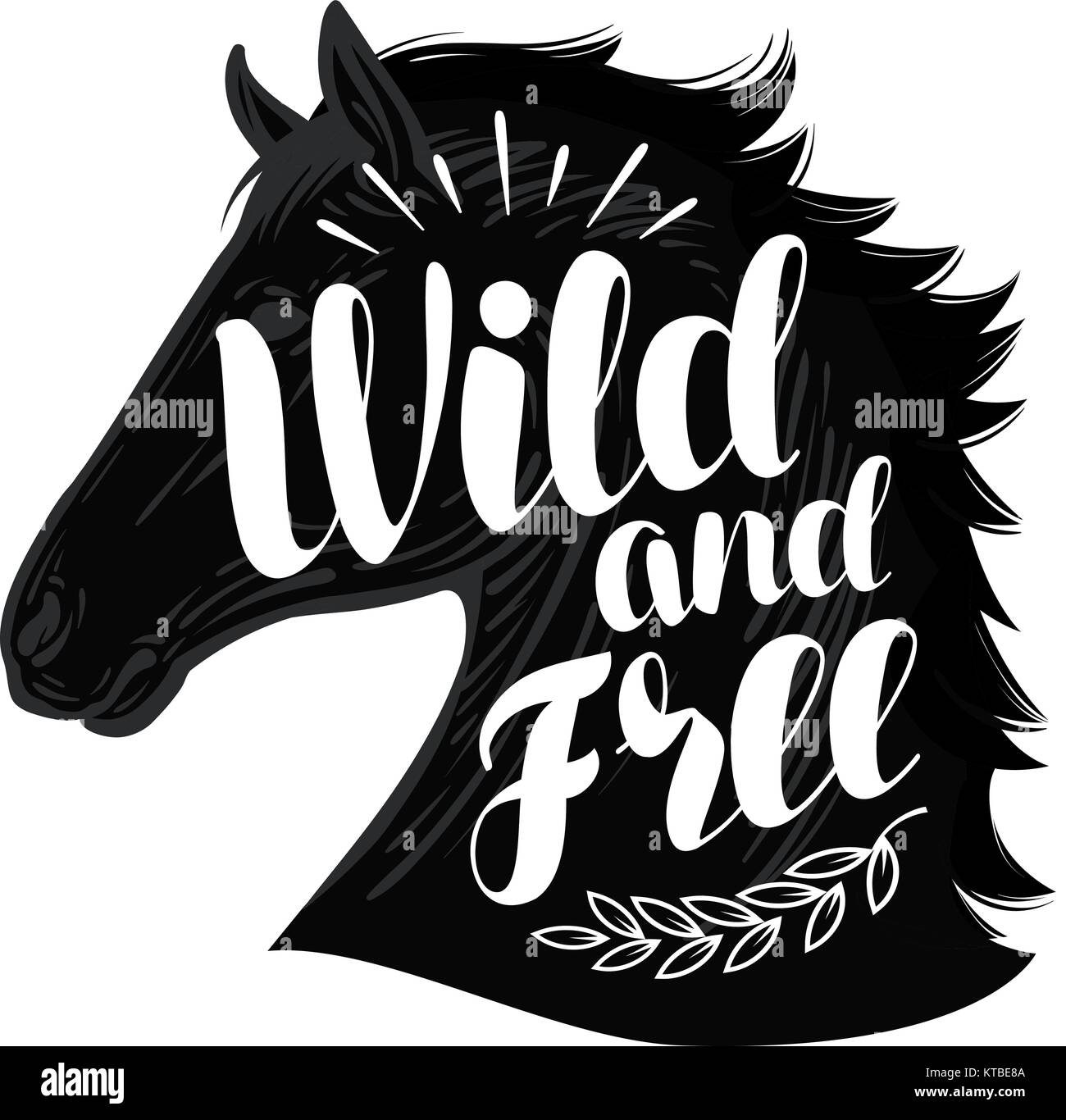 Horse. Wild and free, lettering. Typographic design vector illustration - Stock Image