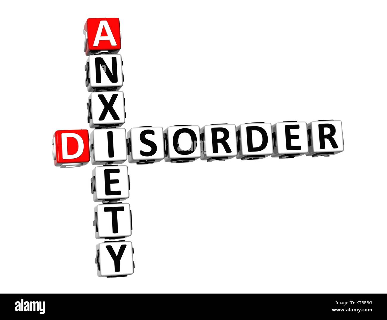 3D Crossword Anxiety Disorder over white background. - Stock Image