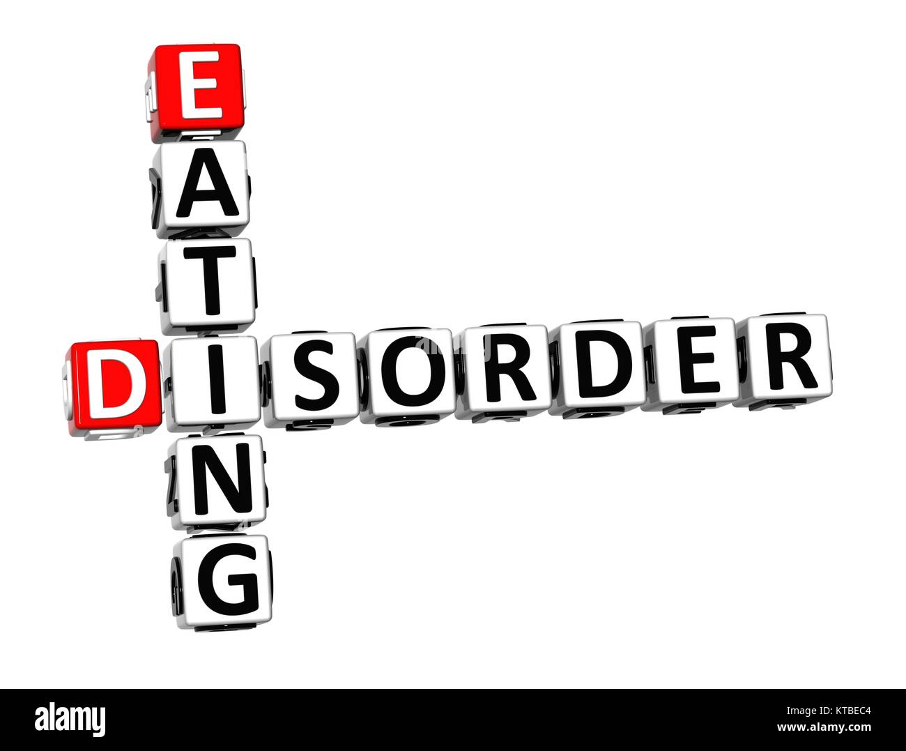 3D Crossword Eating Disorder over white background. - Stock Image