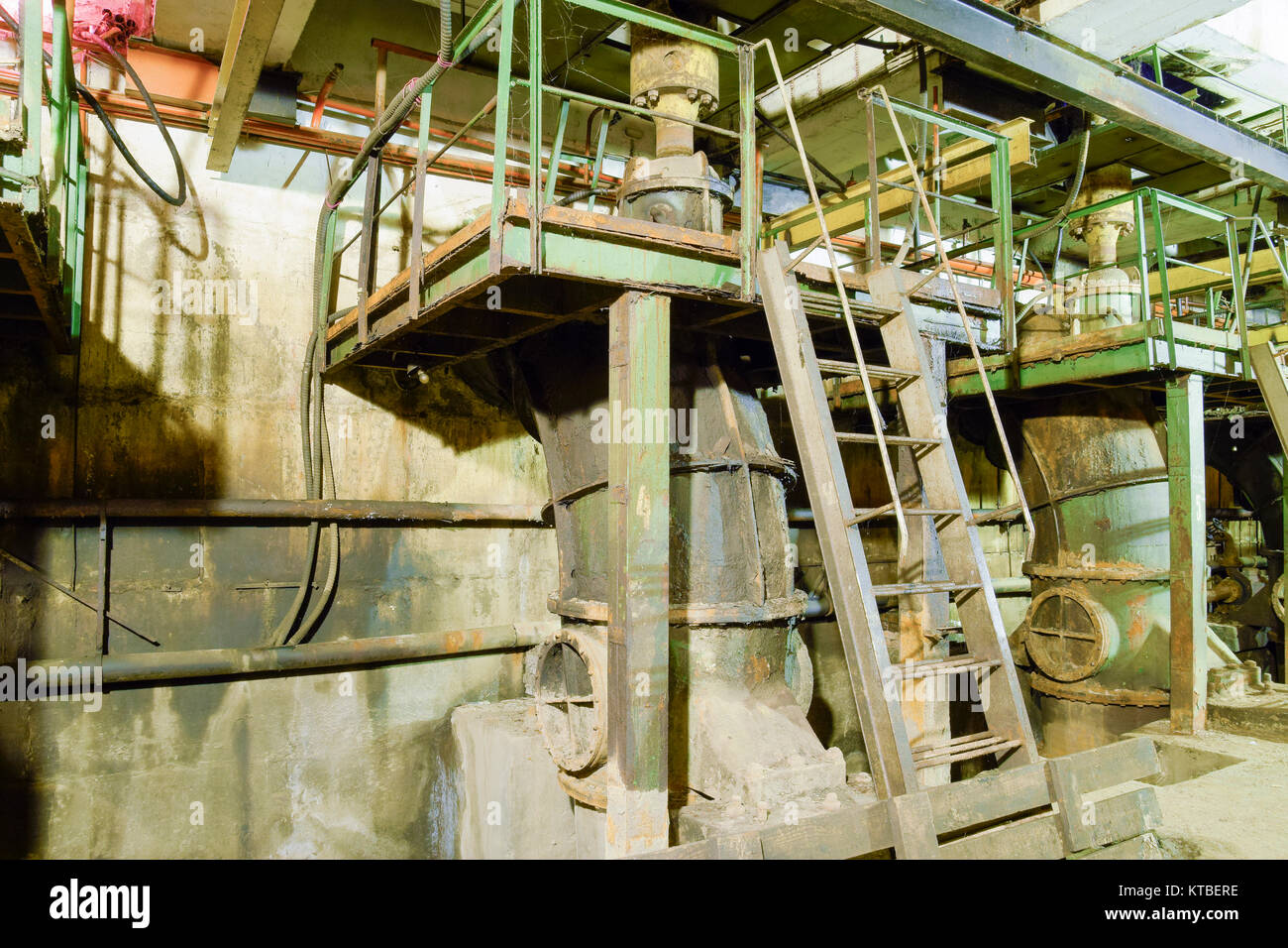 Basement of a water pumping station. Abandoned post-apocalyptic - Stock Image