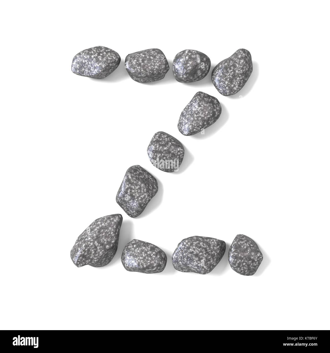Font made of rocks LETTER Z 3D - Stock Image