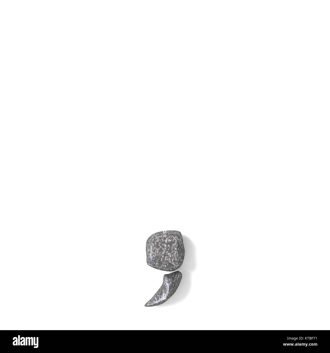 Comma punctuation mark made of rocks 3D - Stock Image