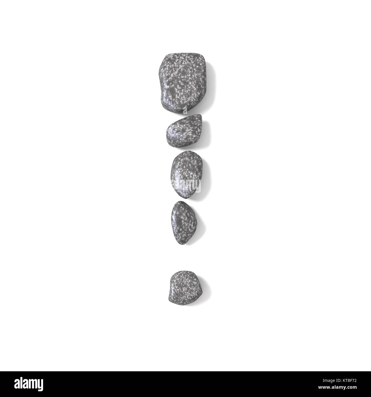 Exclamation mark made of rocks 3D - Stock Image