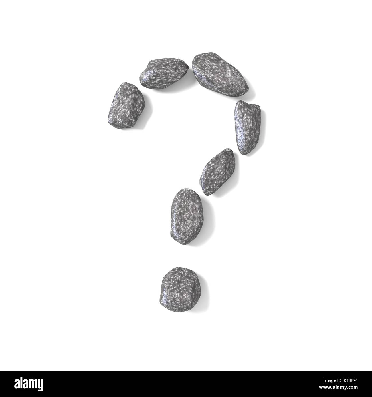 Question mark made of rocks 3D - Stock Image
