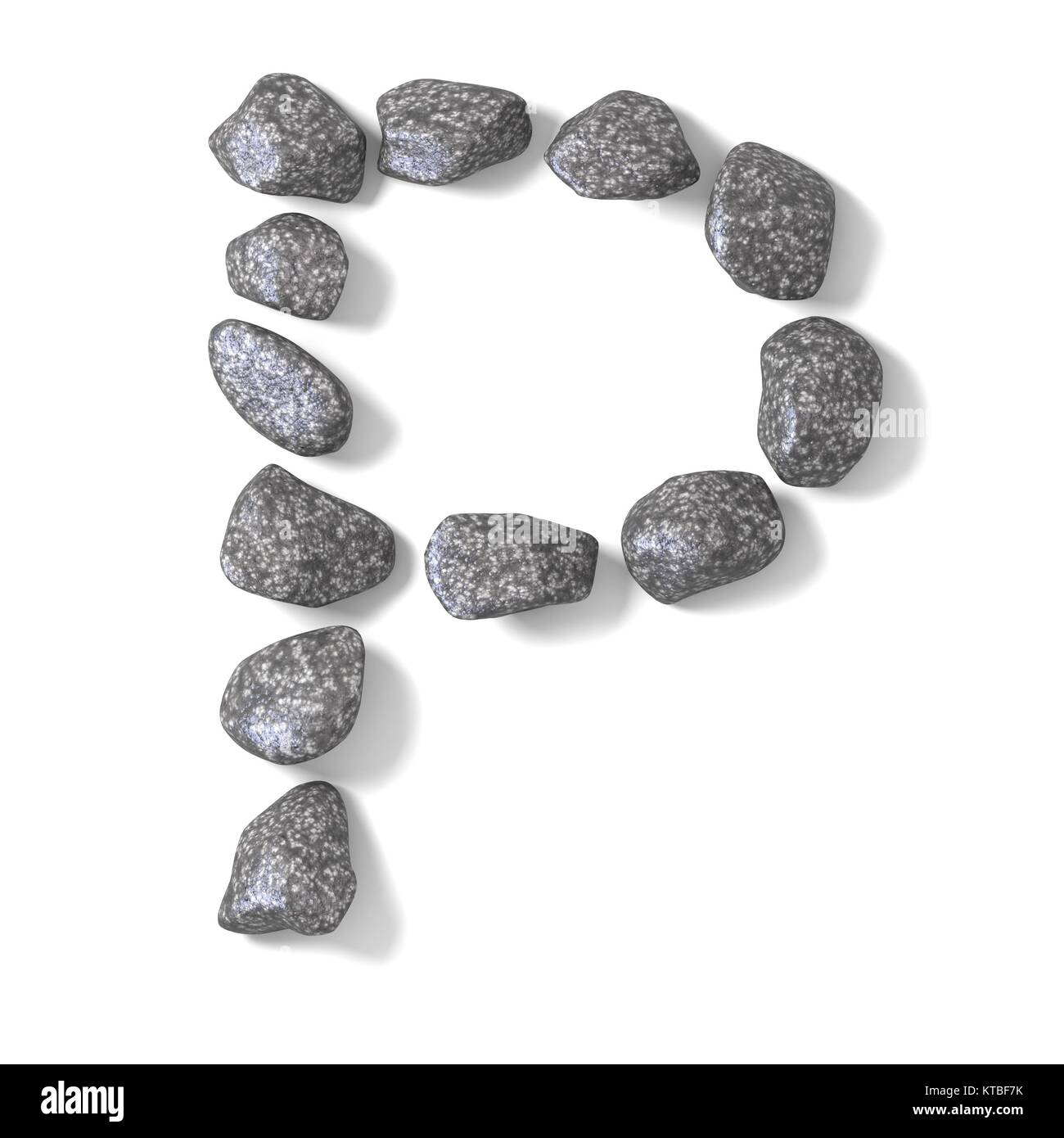 Font made of rocks LETTER P 3D - Stock Image