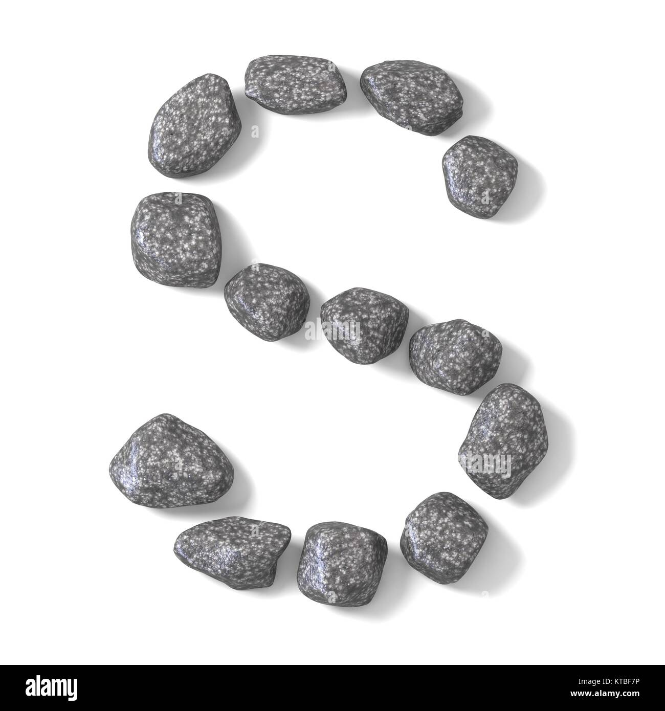 Font made of rocks LETTER S 3D - Stock Image