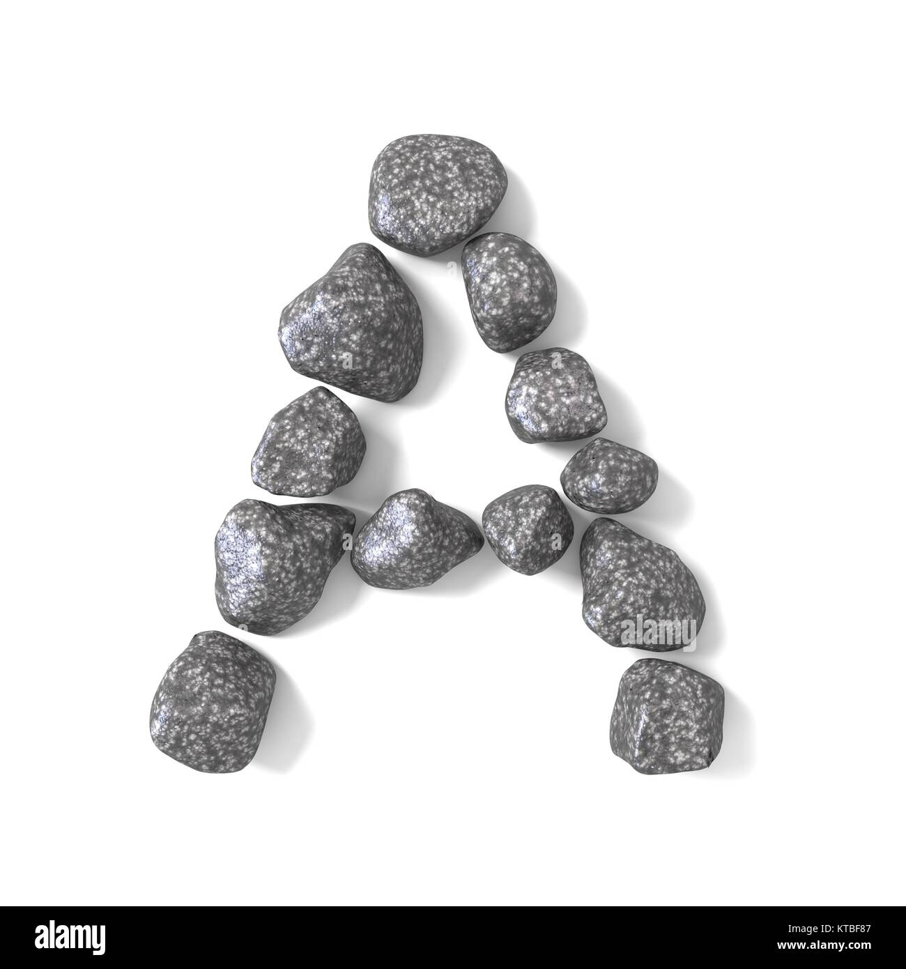 Font made of rocks LETTER A 3D - Stock Image