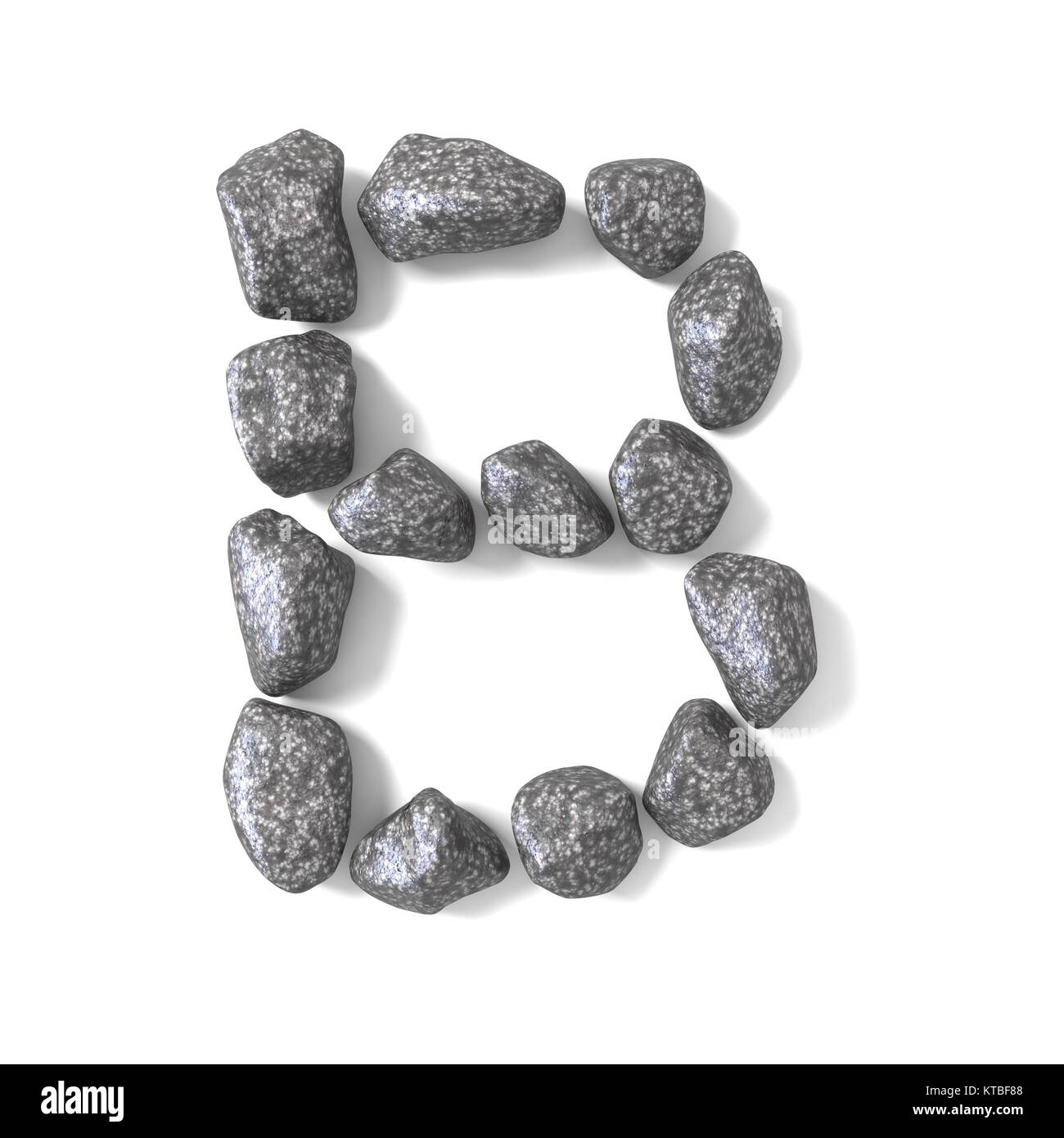 Font made of rocks LETTER B 3D - Stock Image