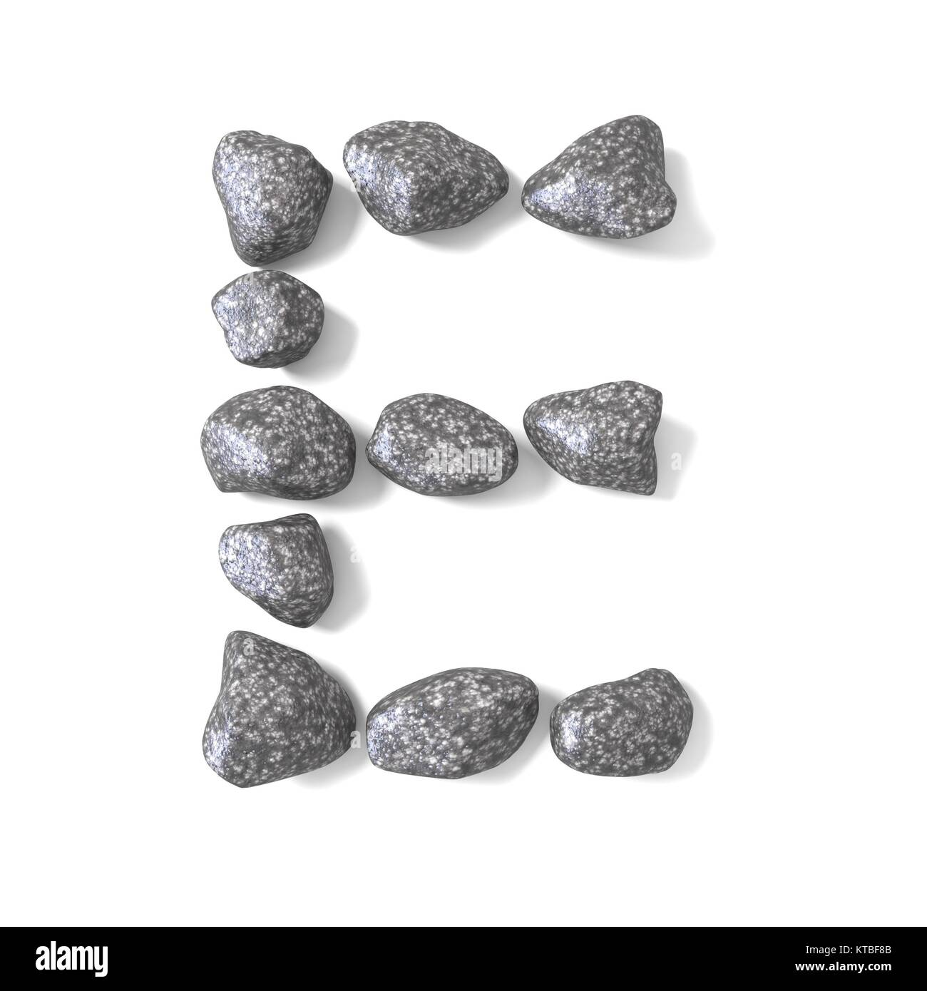Font made of rocks LETTER E 3D - Stock Image
