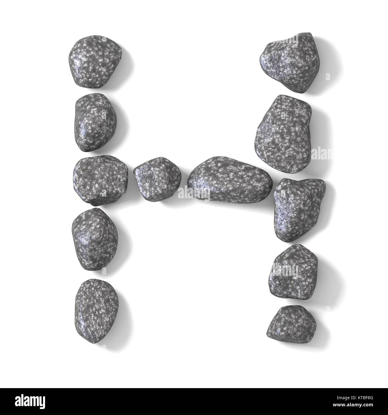 Font made of rocks LETTER H 3D - Stock Image