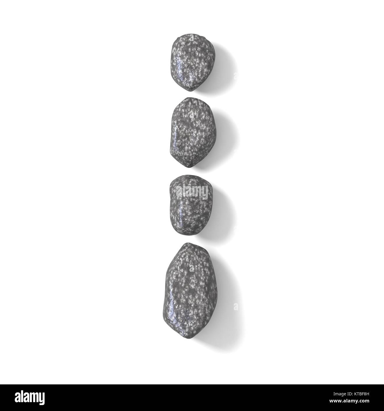 Font made of rocks LETTER I 3D - Stock Image