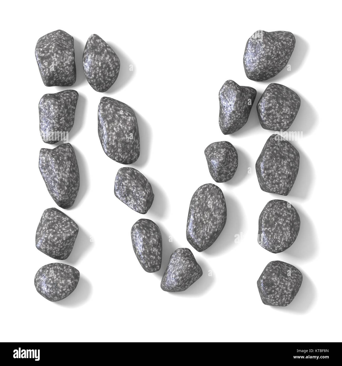Font made of rocks LETTER M 3D - Stock Image