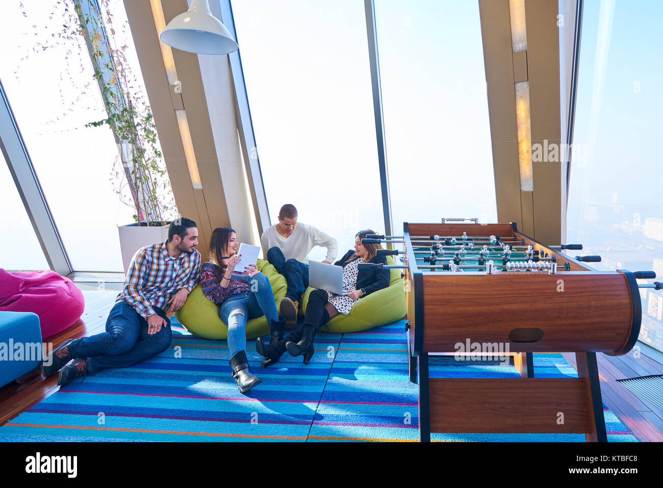 startup business people group working everyday job at modern office - Stock Image