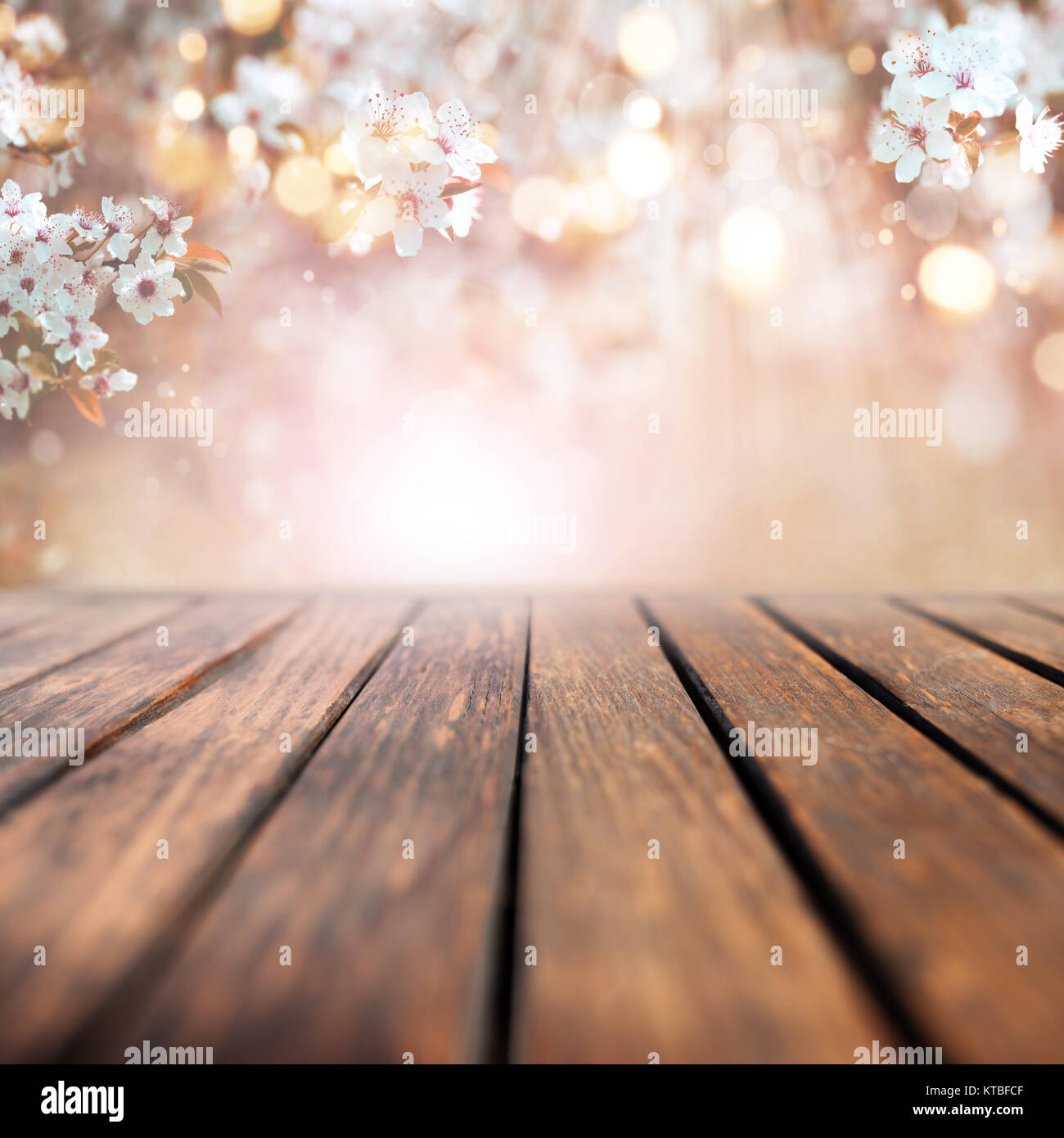 Cherry blossoms in spring with sunrays and bokeh in front of an empty wooden table for a concept Stock Photo