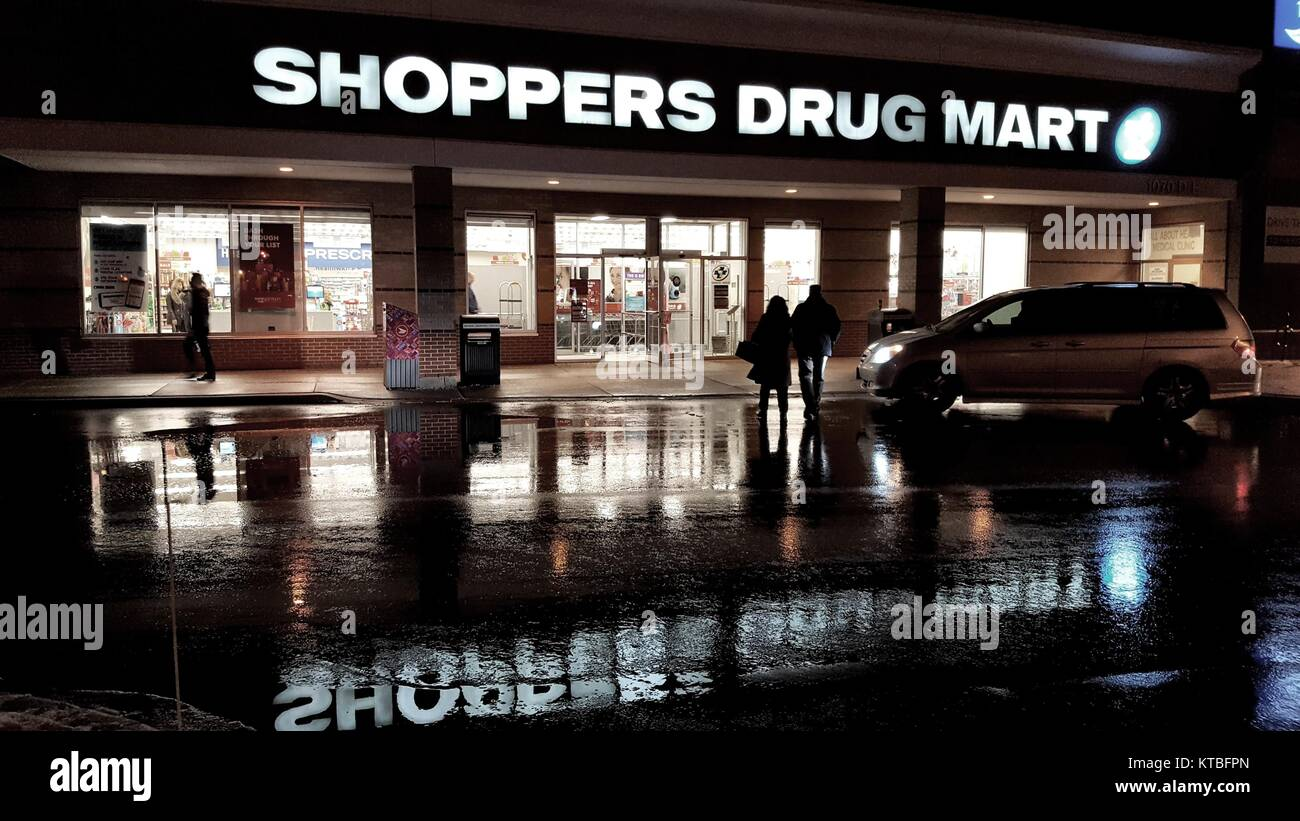 Shoppers Drug Mart store by night Stock Photo