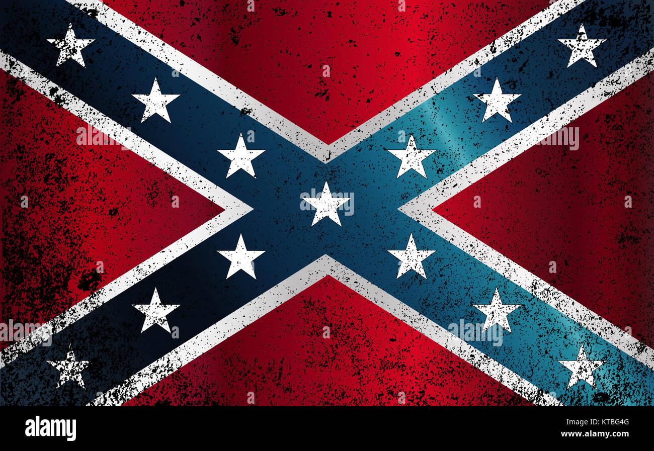 Confederate Civil War Flag Grunge - Stock Image