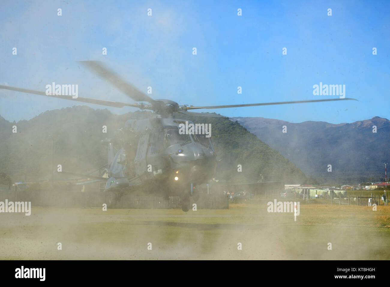 GREYMOUTH, NEW ZEALAND, NOVEMBER 18, 2017: An Air Force NH90 helicopter takes off at an open day run by the New - Stock Image