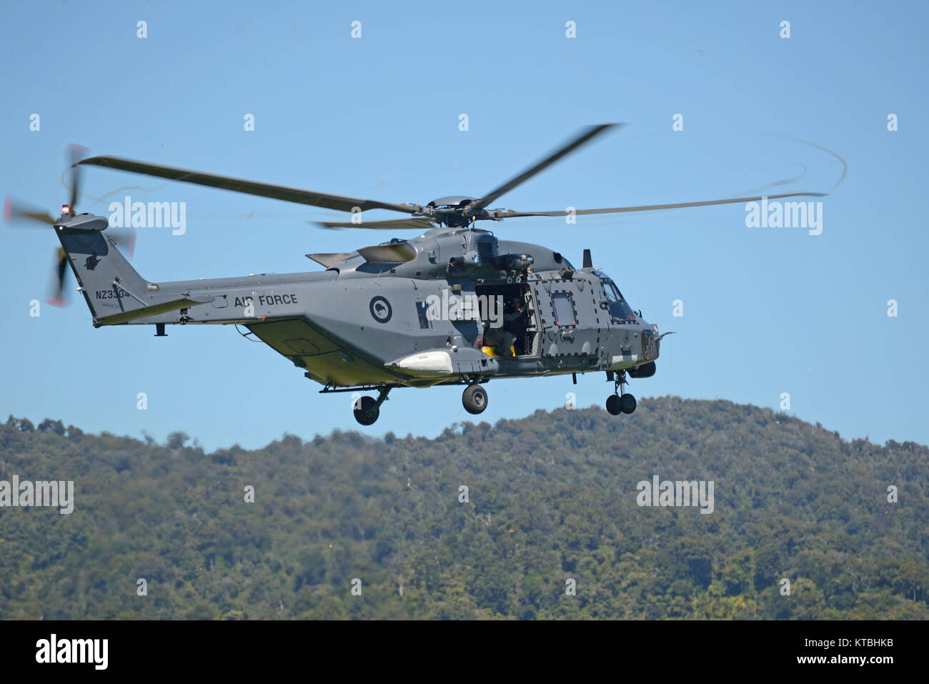 An Air Force NH90 helicopter takes off from Greymouth aerodrome at an open day run by the New Zealand armed forces. - Stock Image