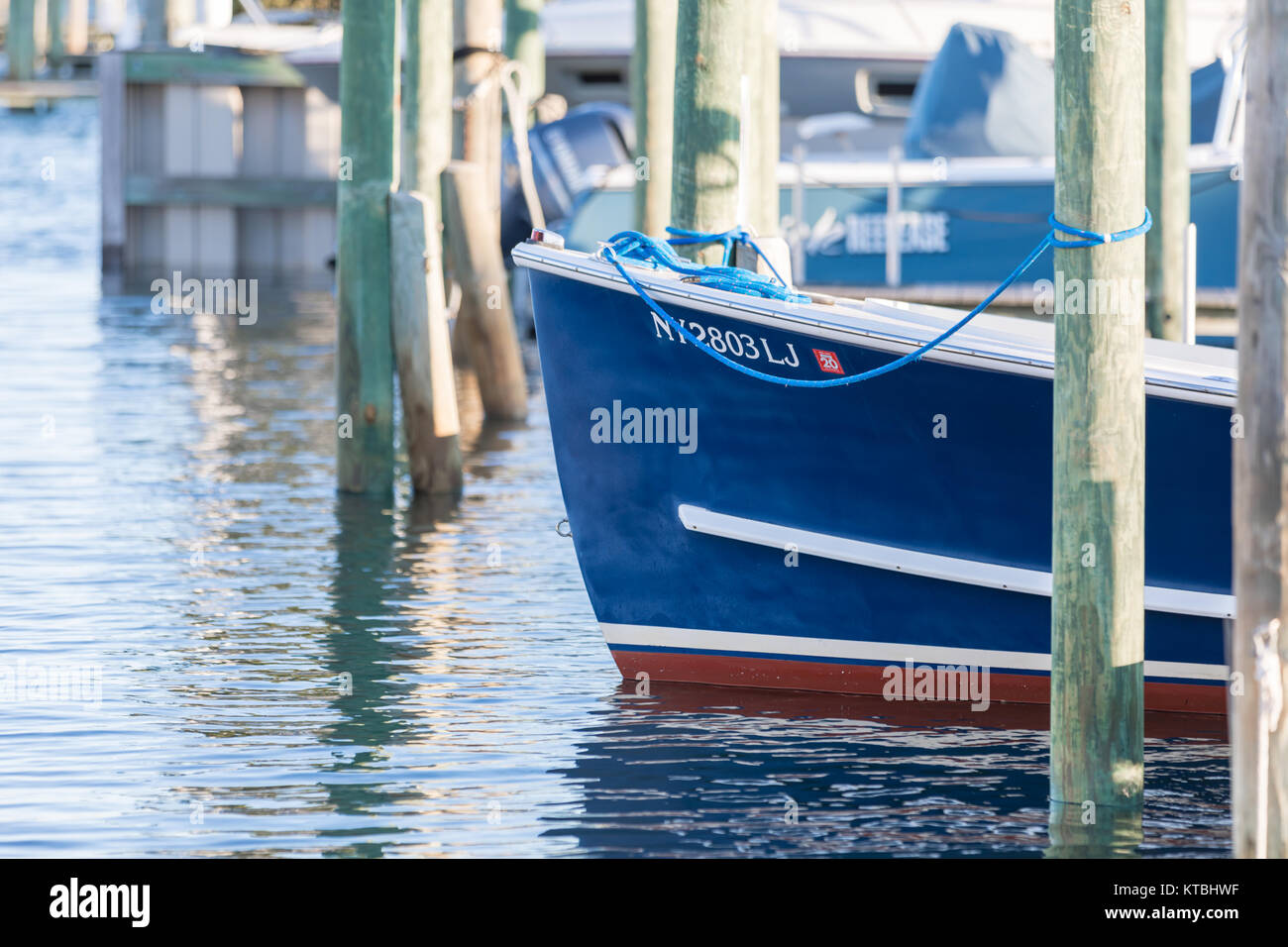 detail image of the hull of a small boat in sag harbor, ny - Stock Image
