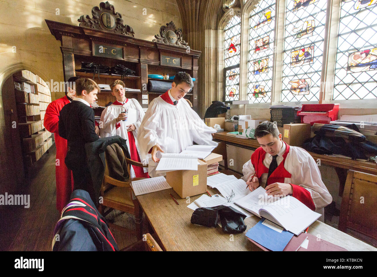 The Kings College Choir In Cambridge Rehearsing For Festival Of Nine Lessons And Carols