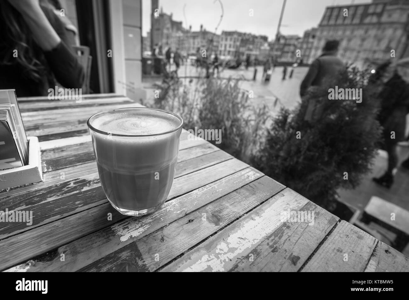 Coffee in a coffee shop window. - Stock Image