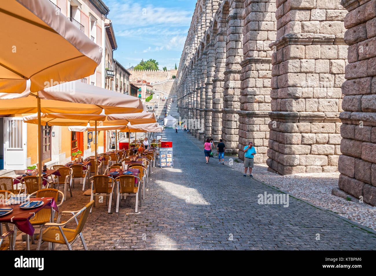 Acueducto romano de Segovia. Castilla León. España. Ciudad patrimonio de la humanidad. Unesco. - Stock Image