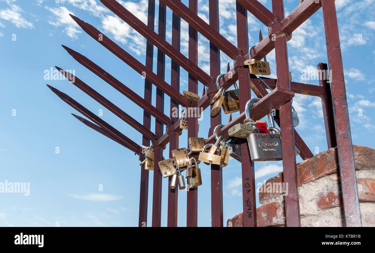 Candados. Segovia. Castilla León. España. Ciudad patrimonio de la humanidad. Unesco. - Stock Image