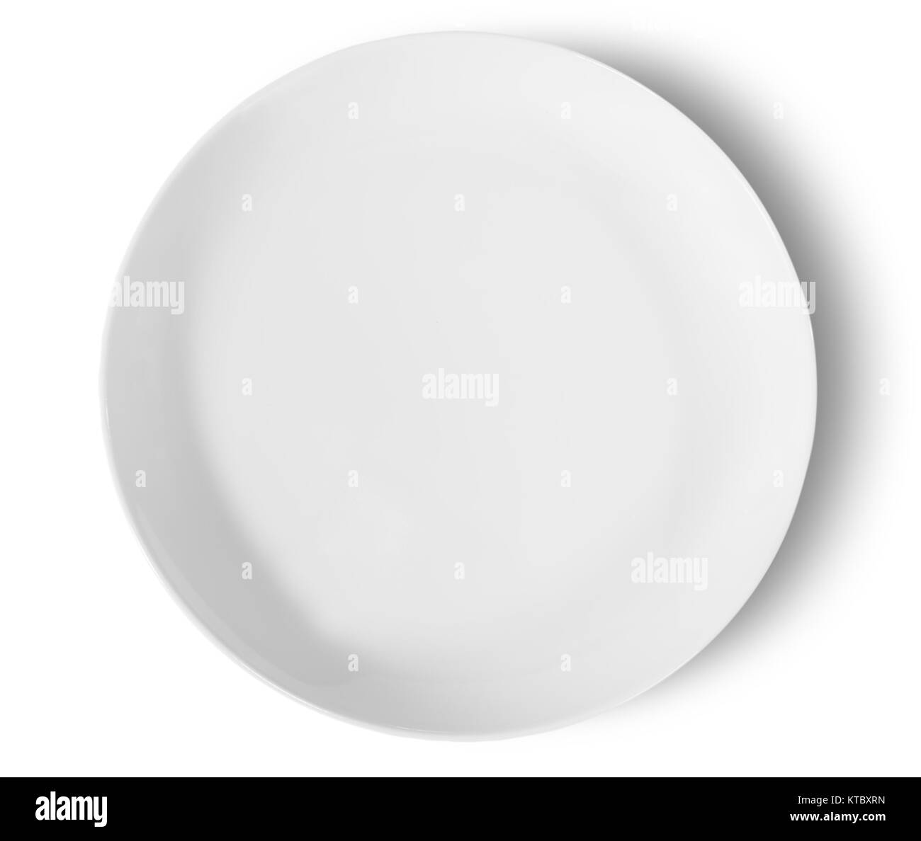 One Isolated White Porcelain Plate Top View - Stock Image
