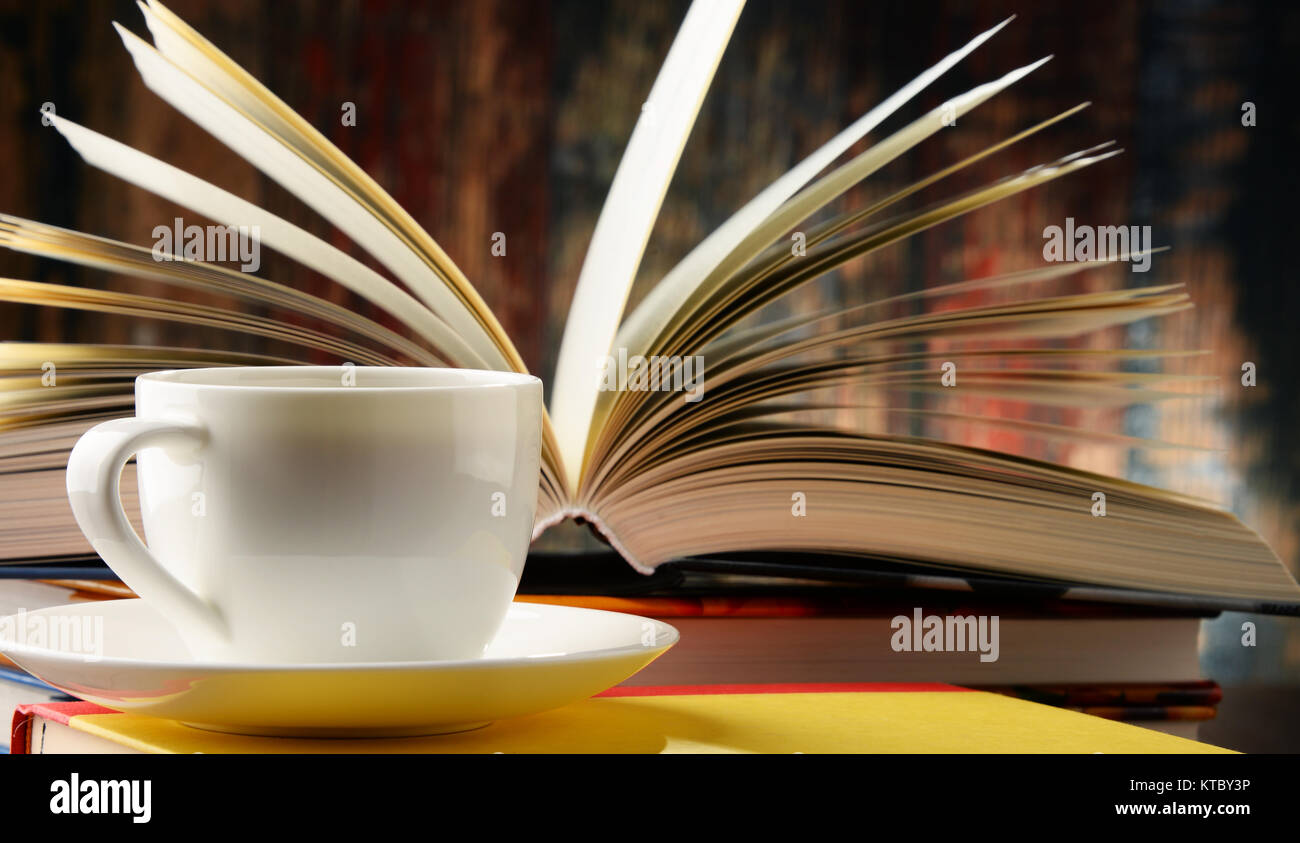 Composition with books and cup of coffee Stock Photo