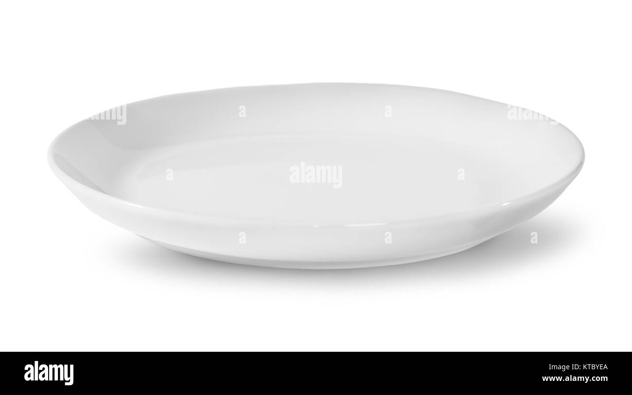 Single White Porcelain Plate - Stock Image