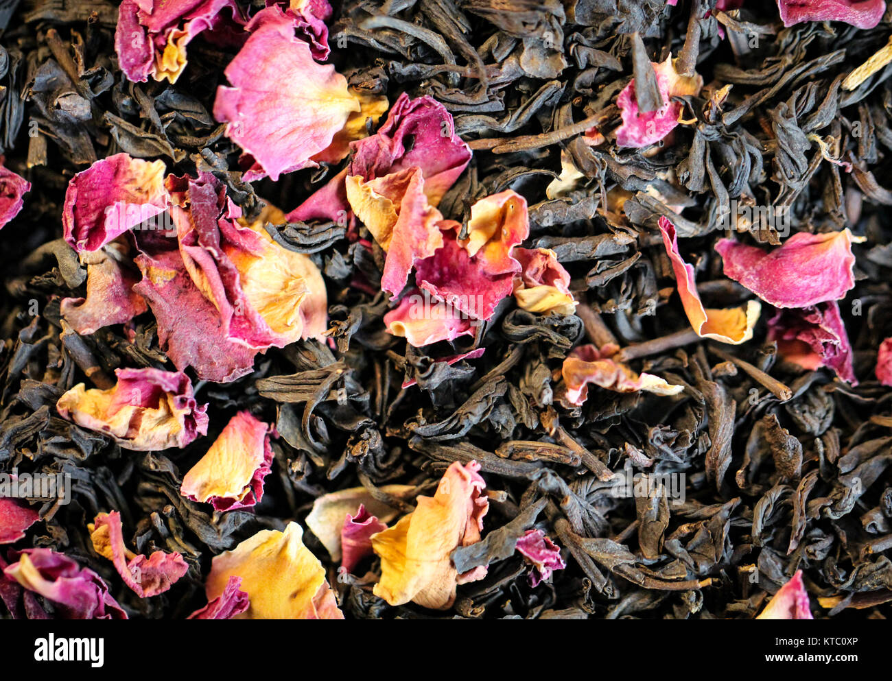 black tea with rose petals,relaxation,enjoyment - Stock Image